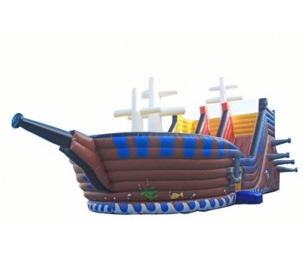батут-горка Пираты пиратский корабль